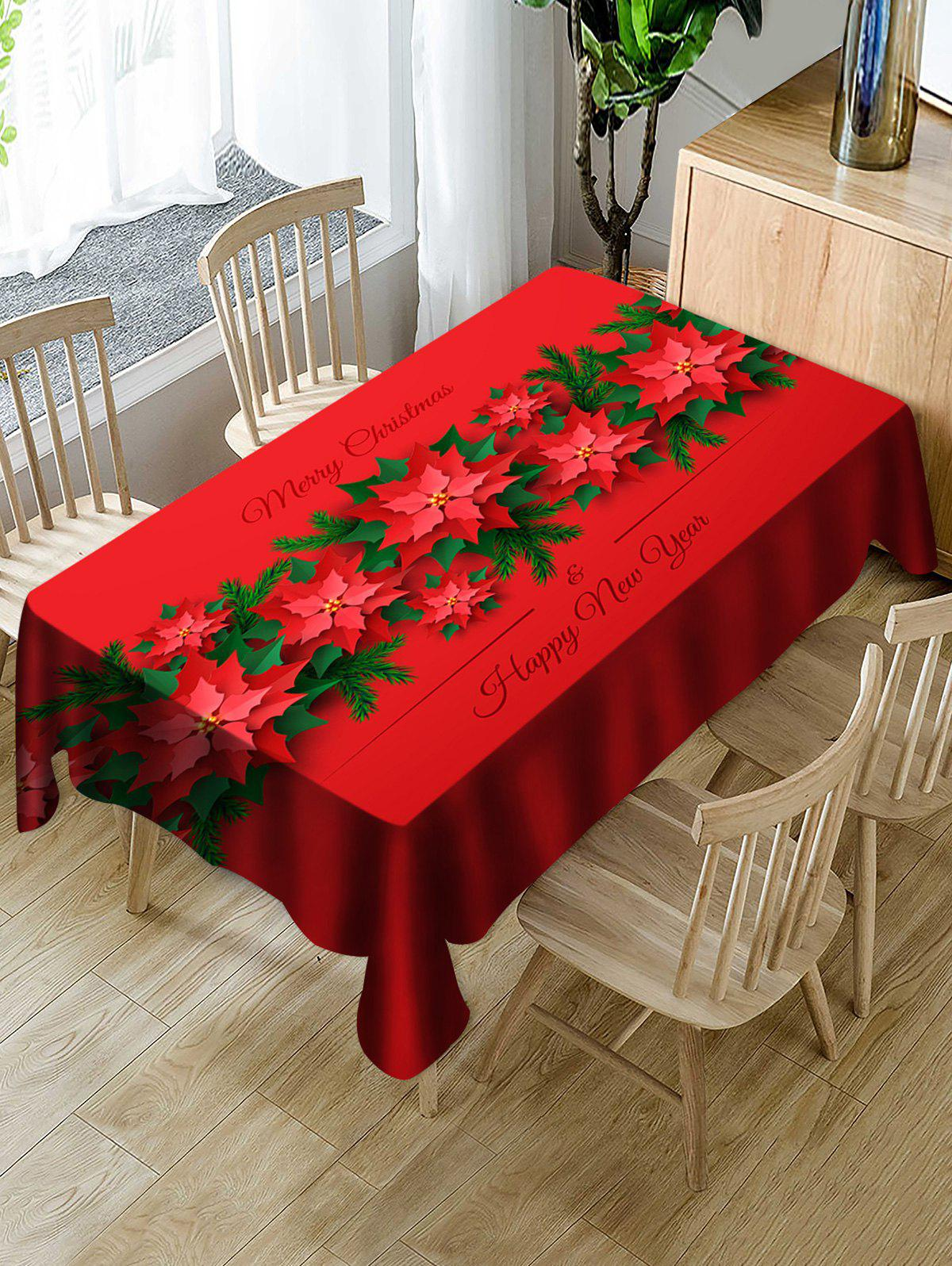 Merry Christmas Happy New Year Table Cloth - LAVA RED 60 X 84 INCH