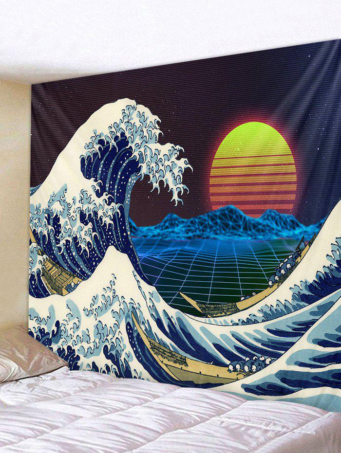 Sunset Sea Printed Tapestry - multicolor W91 X L71 INCH
