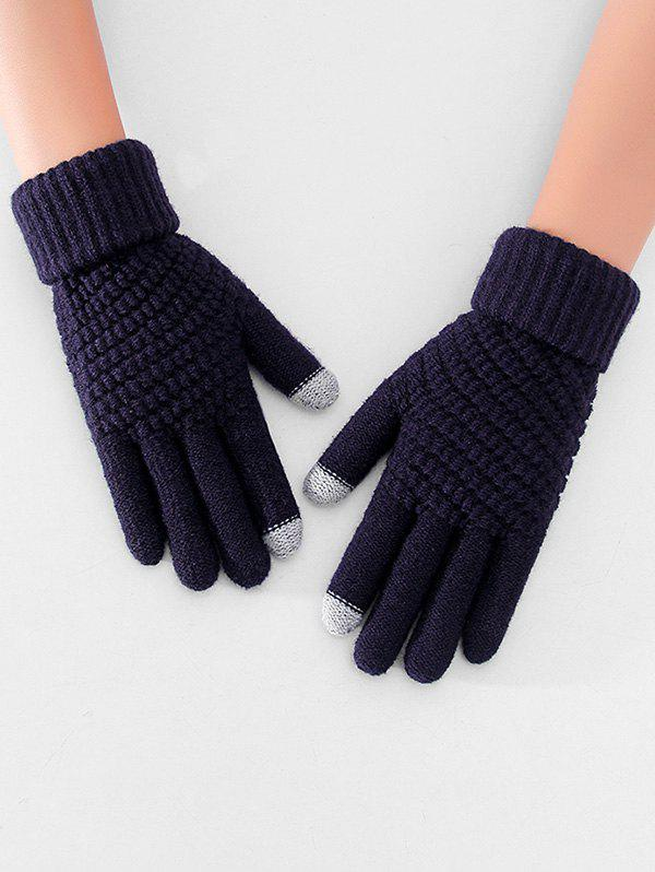Thick Winter Knitted Solid Telefingers Gloves - CADETBLUE