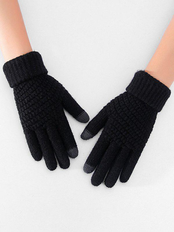 Thick Winter Knitted Solid Telefingers Gloves - BLACK
