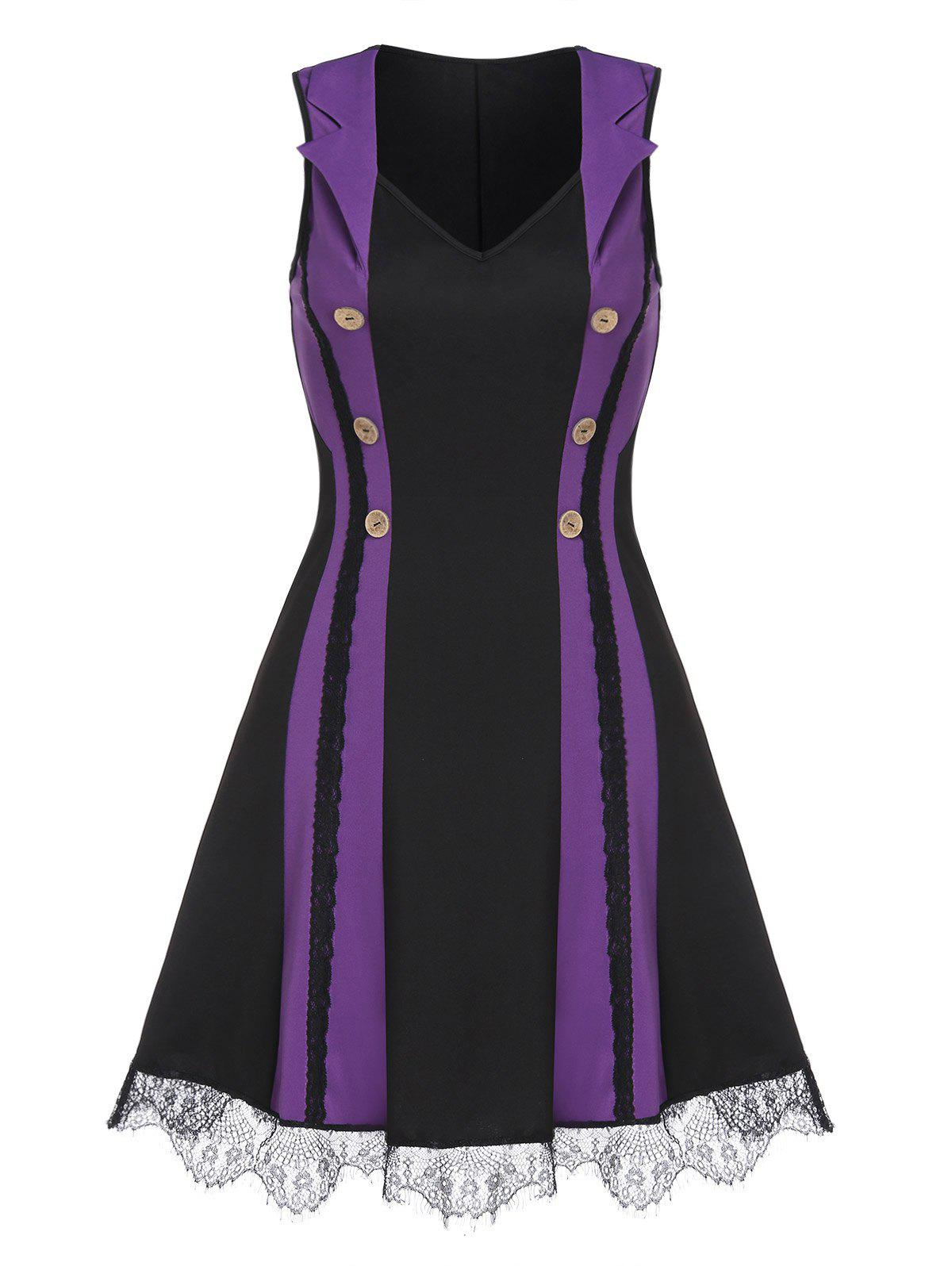 Sleeveless Mock Button Lace Trim Contrast Mini Dress - PURPLE XL