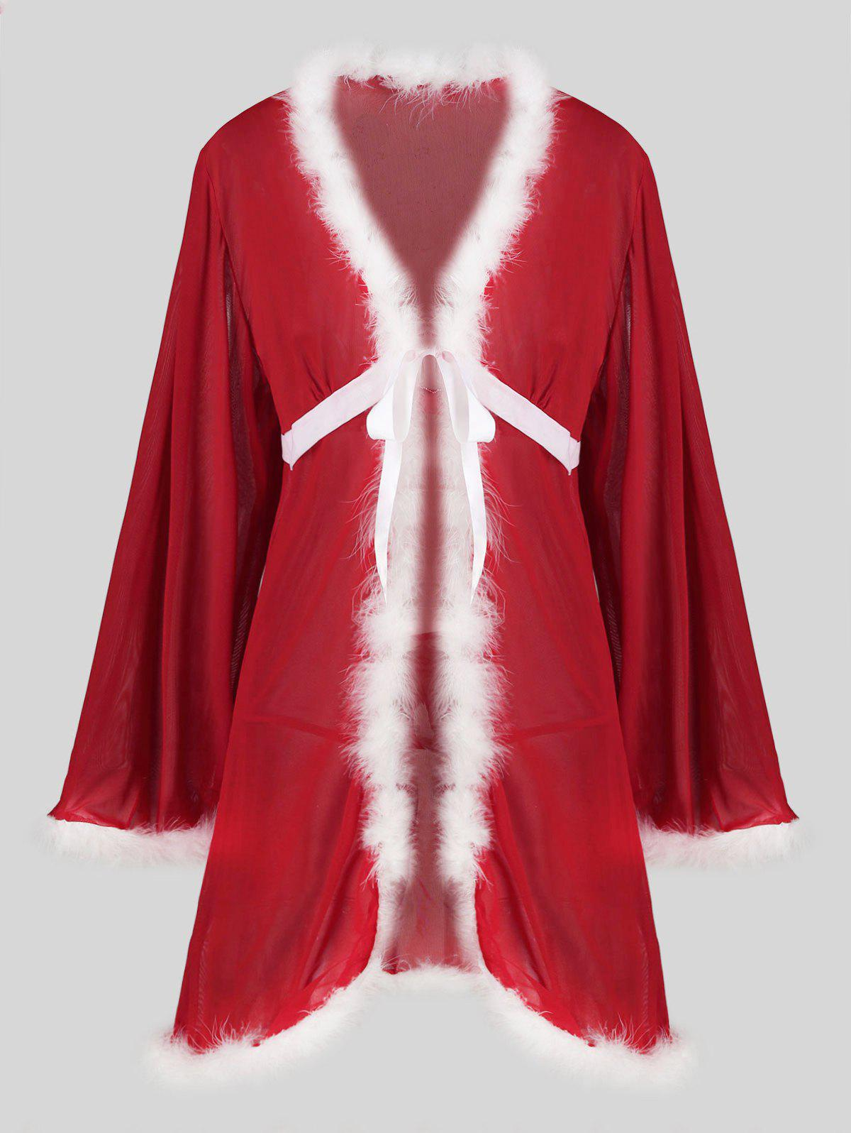 Christmas Knotted Fuzzy T Back Sheer Mesh Plus Size Robe - RED 1X