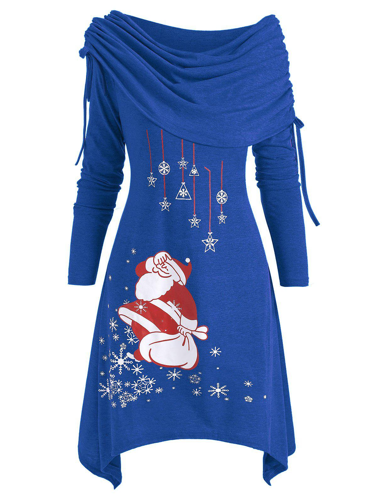 Christmas Santa Claus Foldover Off Shoulder Asymmetrical Dress - BLUE XL