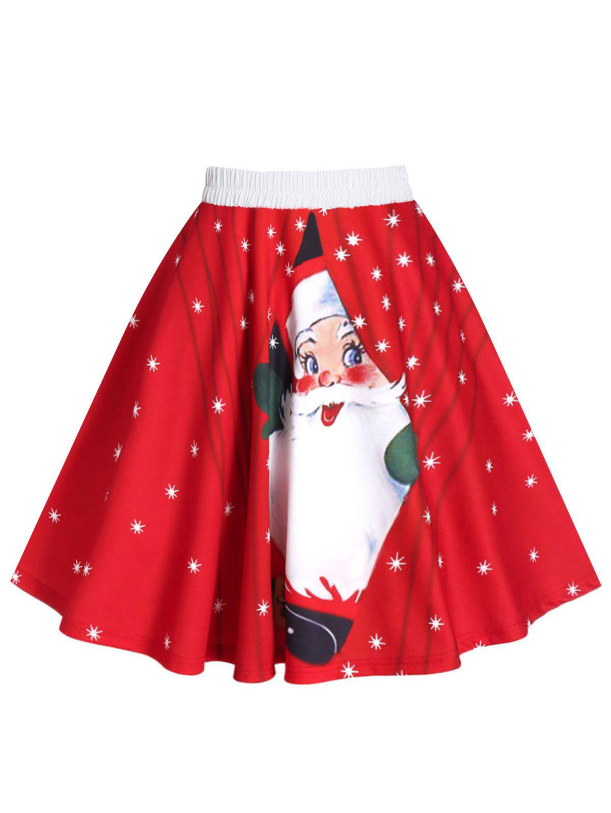 Christmas Snowman Santa Claus Print A Line Skirt - RED XL