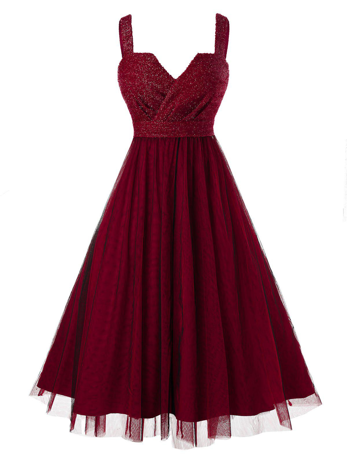Plus Size Sleeveless Metallic Thread Mesh Prom Dress - RED WINE L