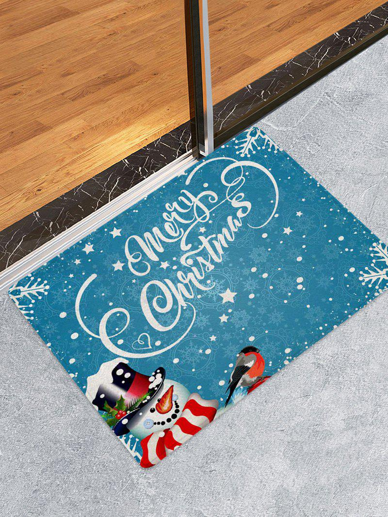 Christmas Snowman Greetings Pattern Water Absorption Area Rug - multicolor A W16 X L24 INCH