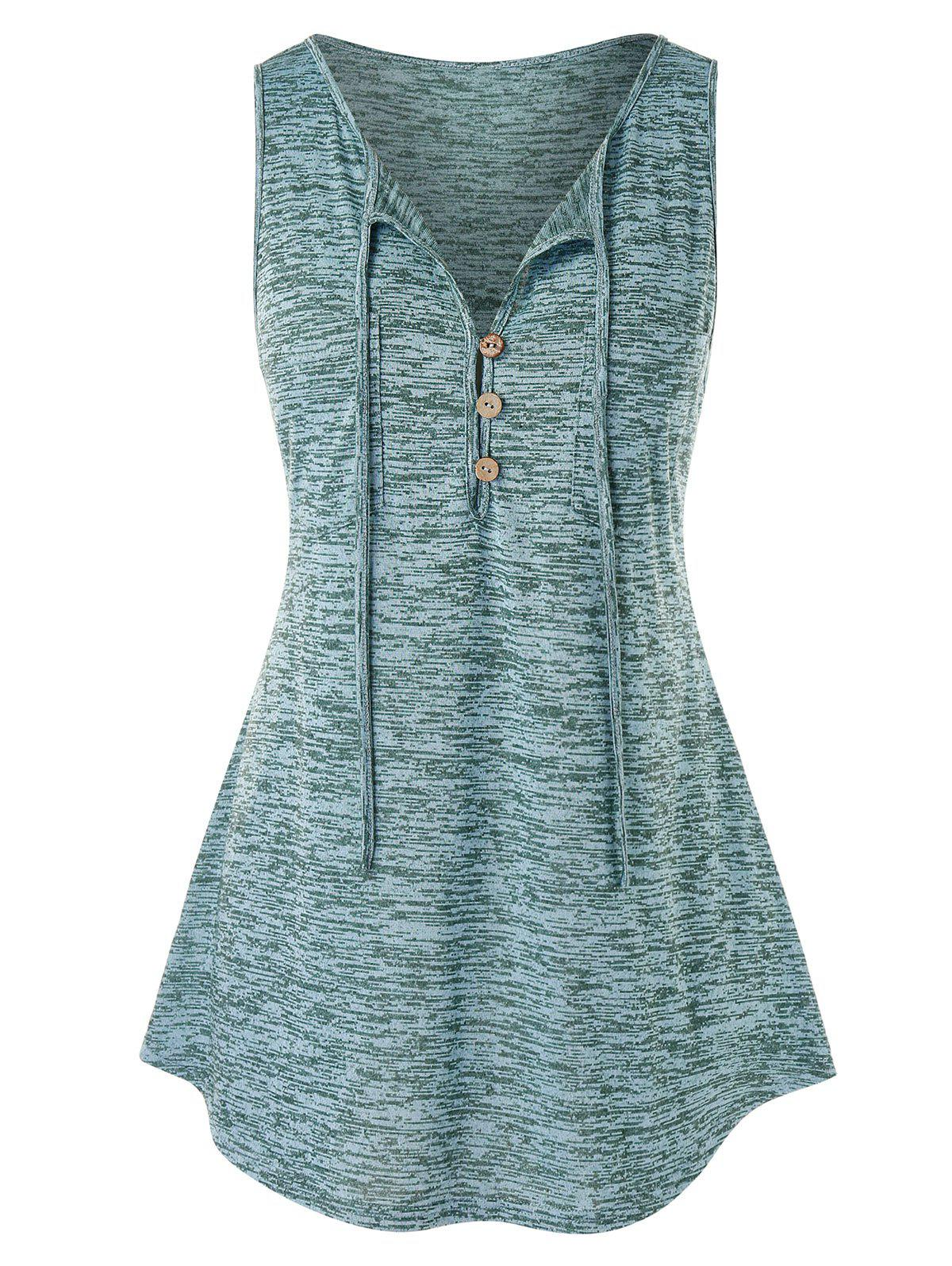 Plus Size Button Embellished Marled Tank Top - MEDIUM TURQUOISE 1X