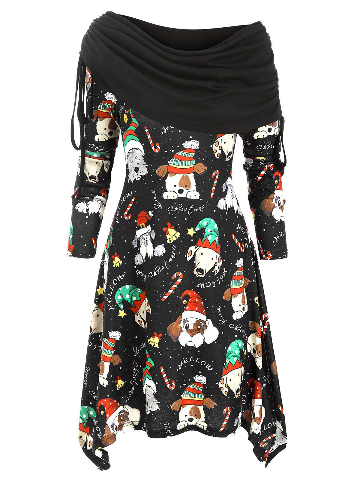Christmas Dog Print Cowl Front Asymmetrical Knitted Dress - BLACK L