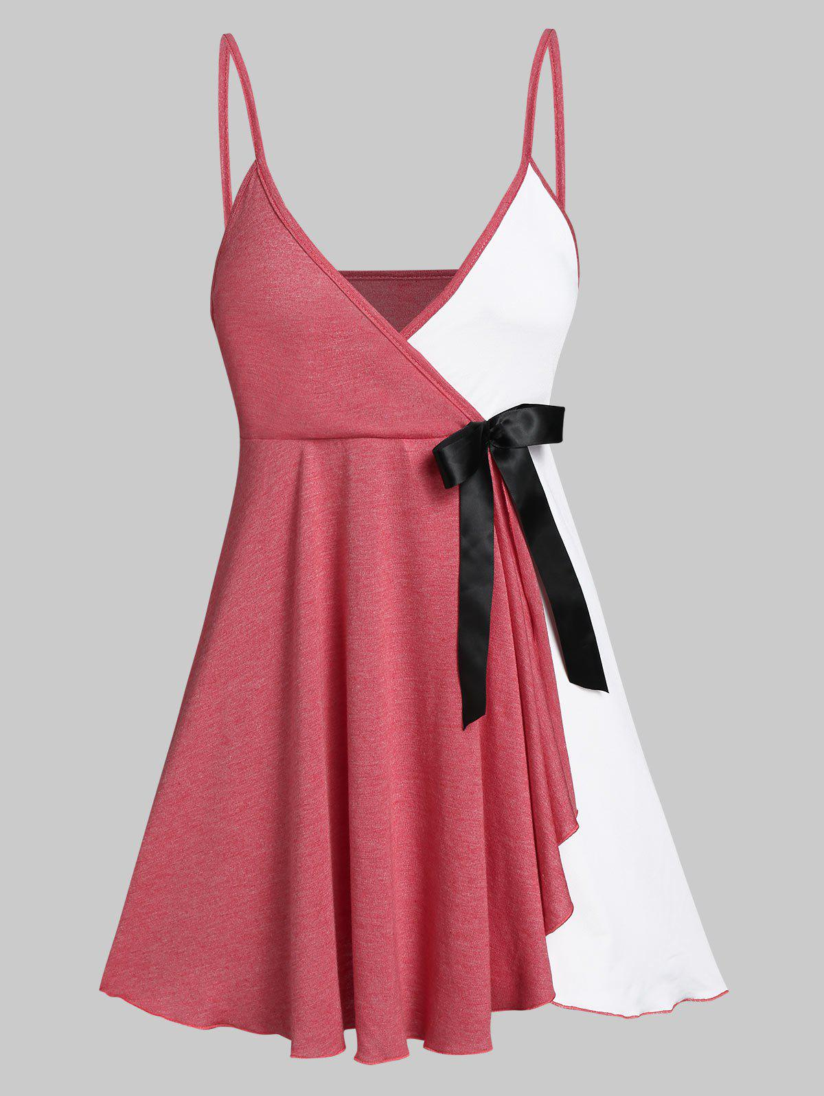 Bowknot Embellished Contrast Surplice Flare Cami Top - CHERRY RED 3XL