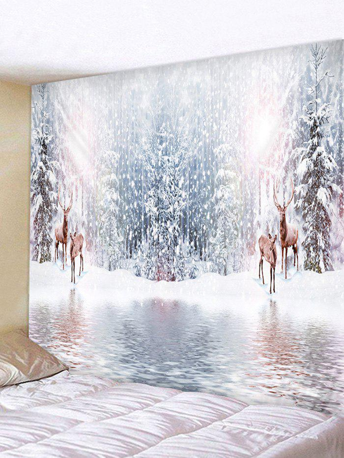 Snow Forest Elk Print Tapestry Wall Hanging Art Decoration - CRYSTAL CREAM W59 X L51 INCH