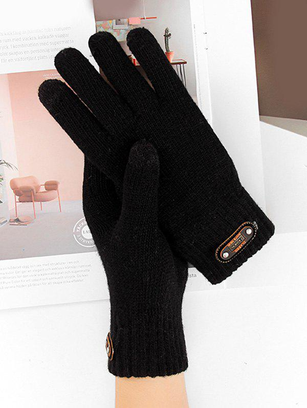 Solid Cycling Driving Telefingers Glove - BLACK