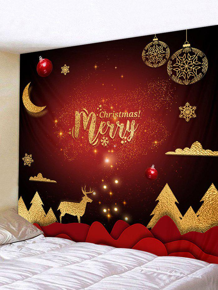 Christmas Tree Elk Greeting Print Tapestry Wall Hanging Art Decoration - multicolor W59 X L51 INCH
