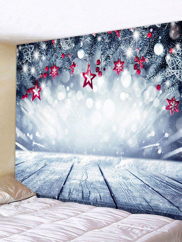 Christmas Stars Wooden Board Print Tapestry Wall Hanging Art Decoration - BLUE GRAY W71 X L71 INCH