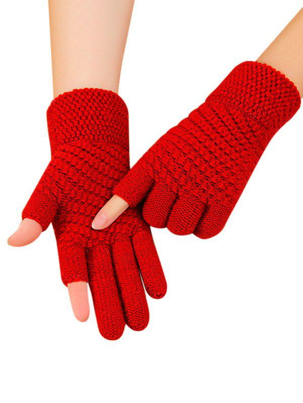 Solid Simple Thick Winter Study Gloves - RED