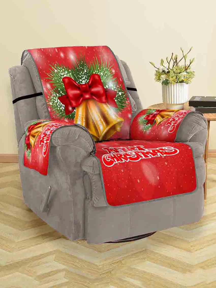 Merry Christmas Bell Couch Cover - RUBY RED SINGLE SEAT