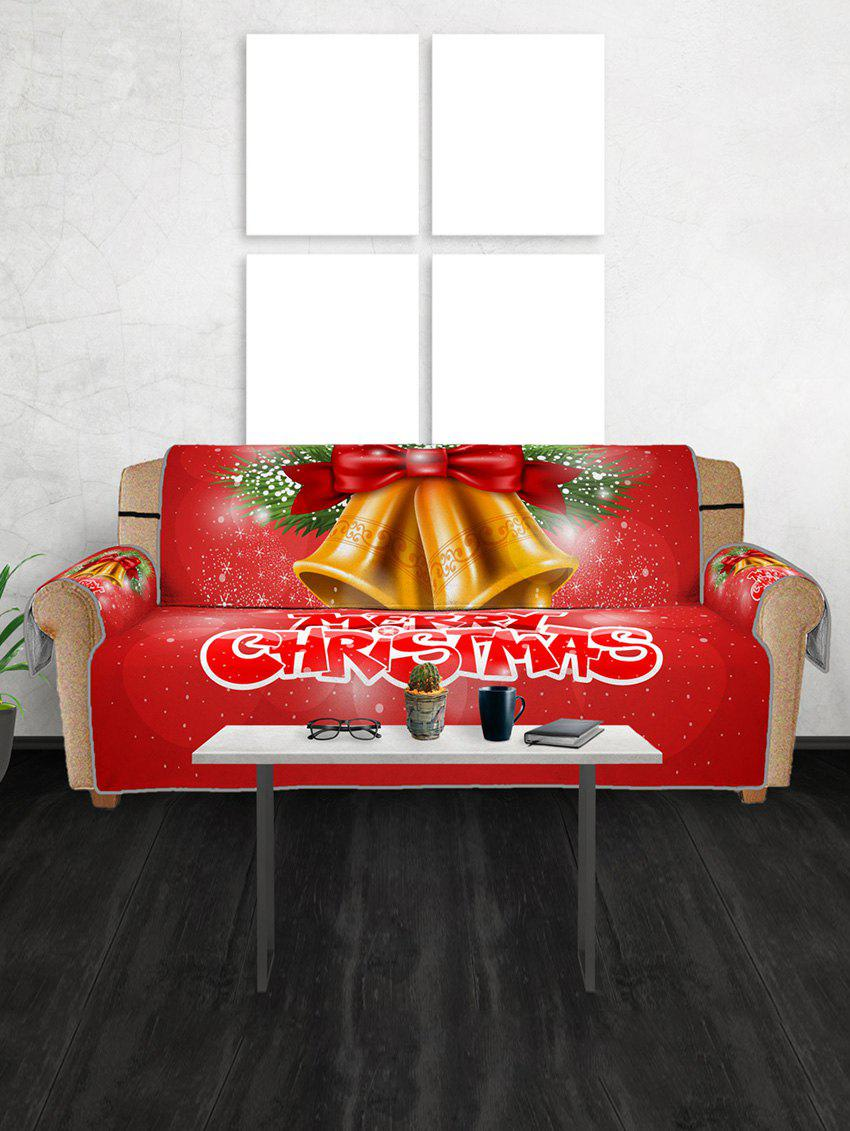 Merry Christmas Bell Couch Cover - RUBY RED THREE SEATS
