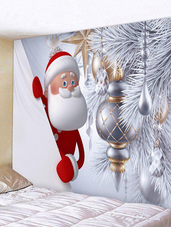 Christmas Santa Claus Tree Decoration Print Tapestry Wall Hanging Art - multicolor W91 X L71 INCH