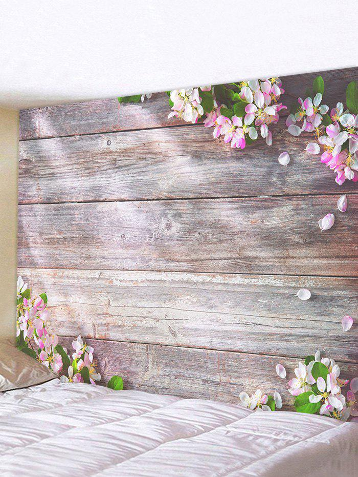 Flowers Wooden Board Print Tapestry Wall Hanging Art Decoration - multicolor W59 X L59 INCH