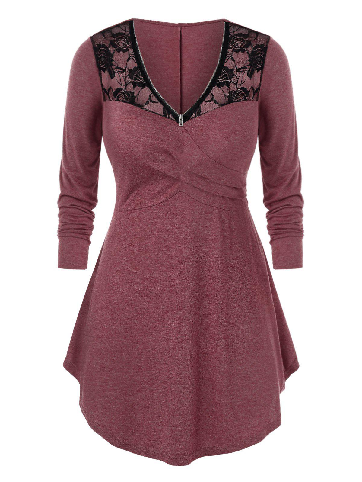Plus Size Zip Lace Panel Long Sleeve Tunic Tee - RED WINE 3X