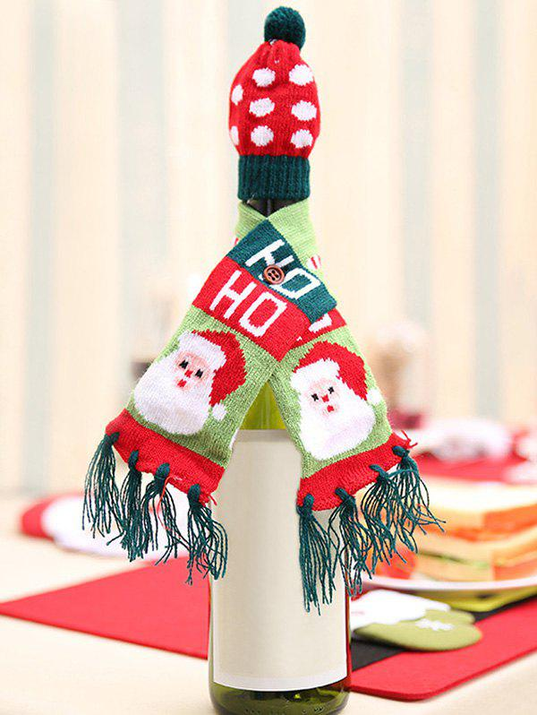 Christmas Decorations Santa Claus Elk Tree Pattern Wine Bottle Hat and Scarf - RED
