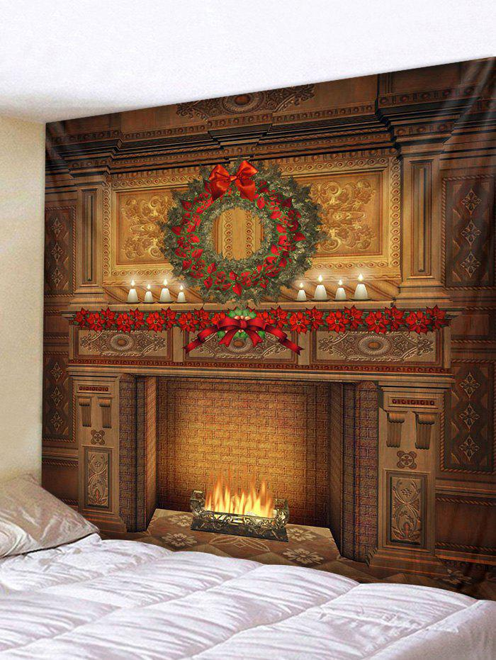 Christmas Wreath Fireplace Printed Tapestry - multicolor W79 X L59 INCH