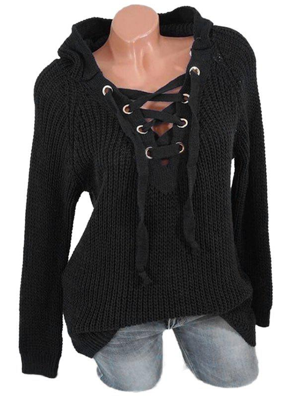 Lace Up Solid Hooded Sweater - BLACK S
