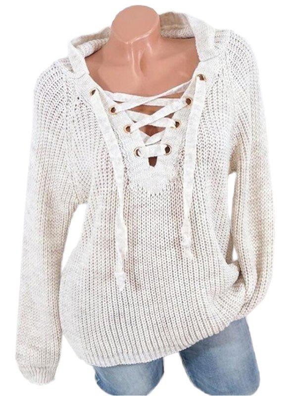 Lace Up Solid Hooded Sweater - WARM WHITE L