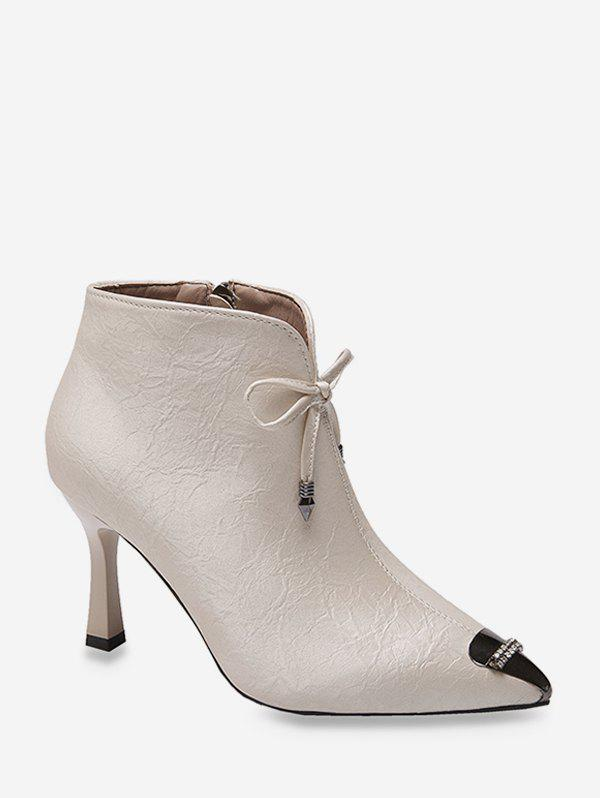 Bowknot Rhinestone Pointed Toe Ankle Boots - WHITE EU 39