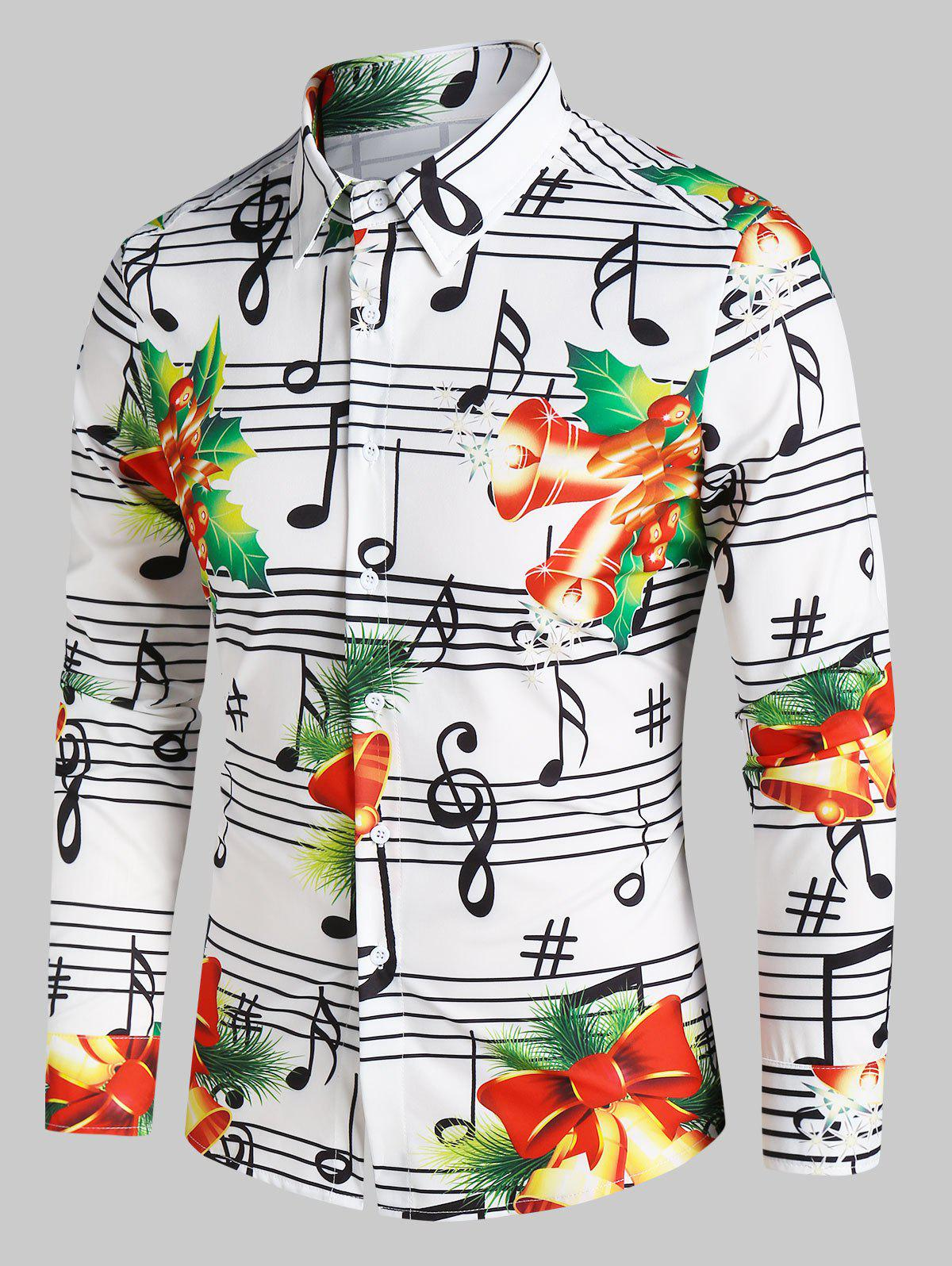 Christmas Bells Music Notes Print Button Up Shirt - WHITE 2XL