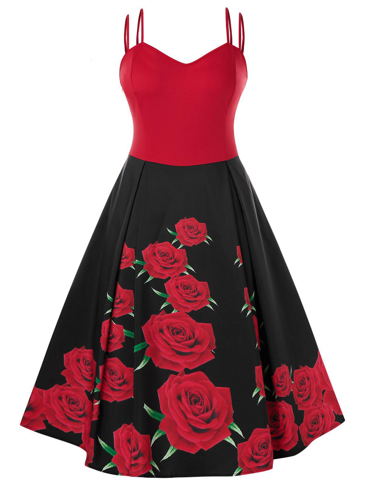 Plus Size Rose Imprimer Vintage Pin Dress Up - Rouge 2X