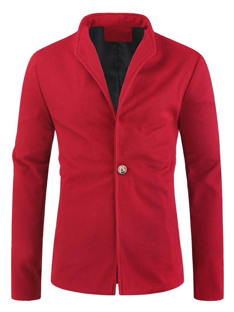 Solid Color Single Button Wool Blend Coat - RED WINE M