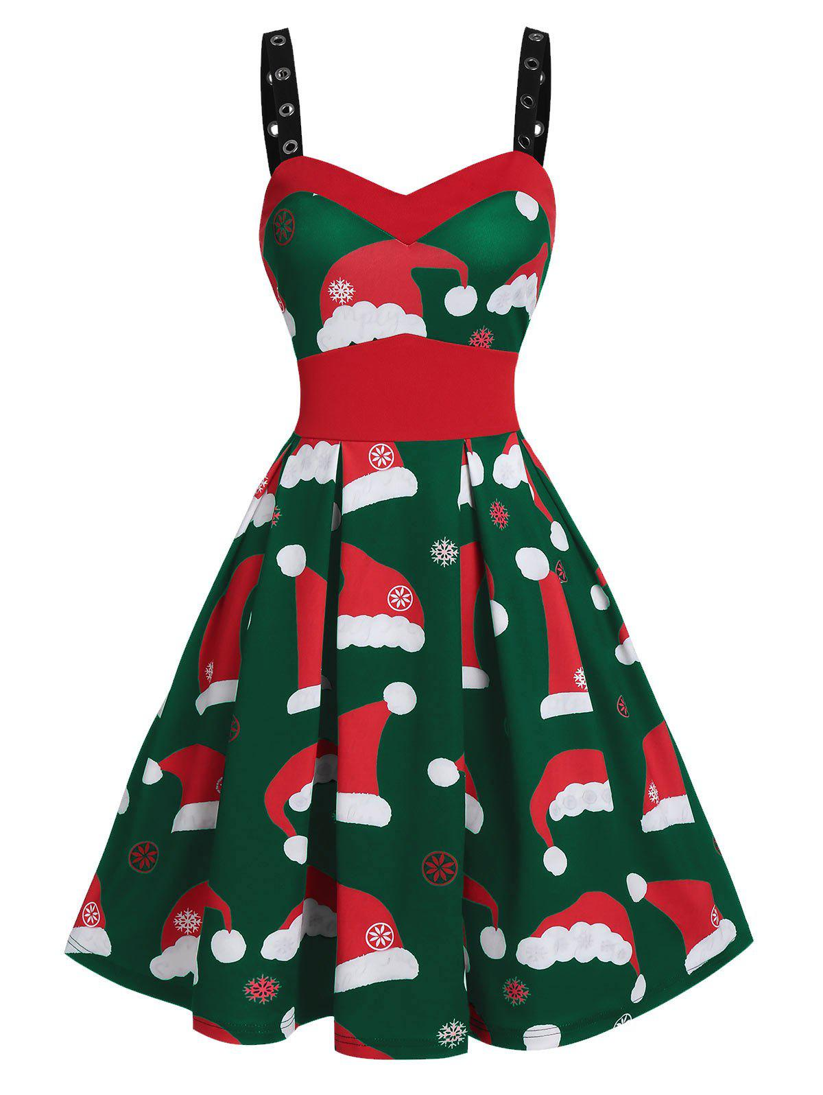 Christmas Hat Print Grommet Strap Mini Cami Dress - DARK GREEN L