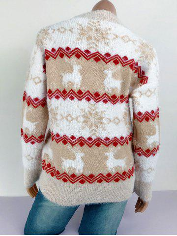 Crew Neck Fuzzy Elk Snowflake Christmas Sweater