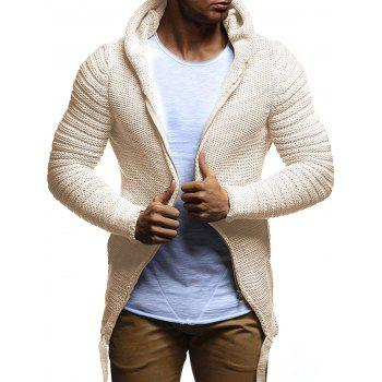 Side Lace Up Cable Knit Zip Up Hooded Cardigan