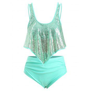 Plus Size Sequins Overlay Ruched Tankini Swimsuit
