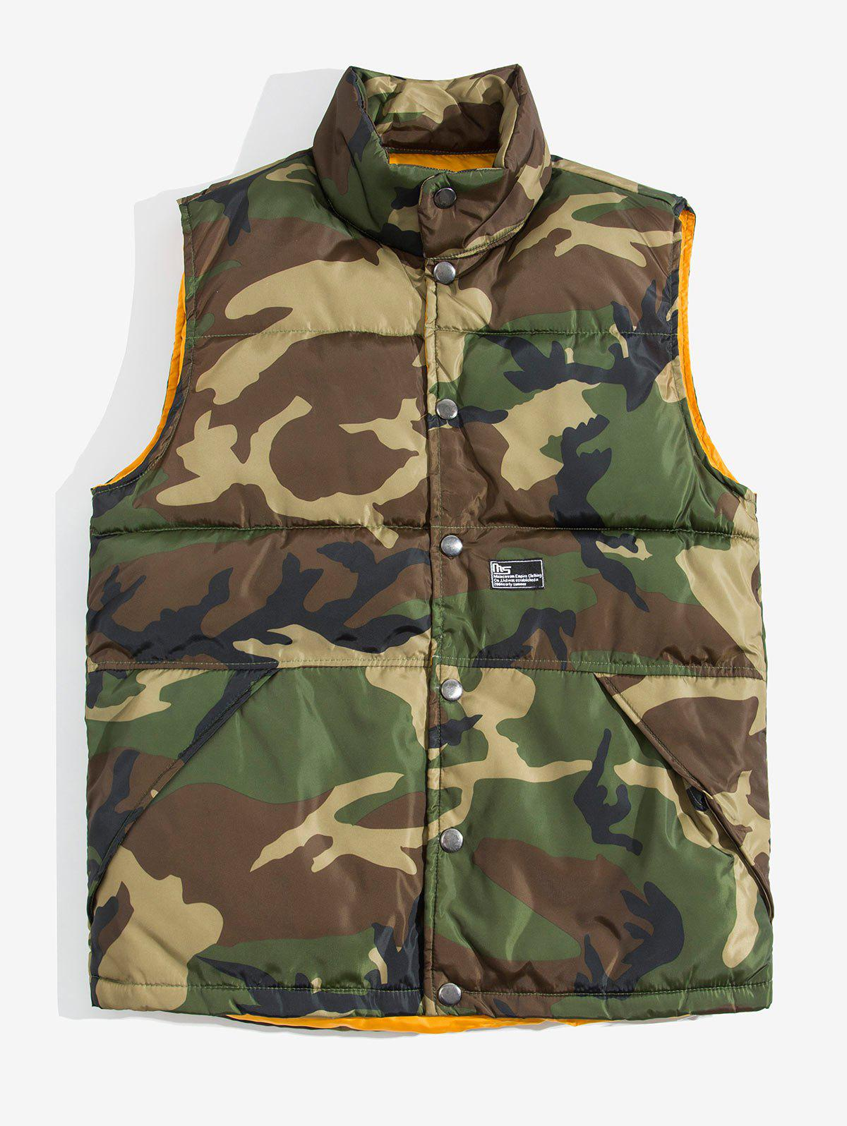 Camo Print Button Up Padded Waistcoat - ARMY GREEN M