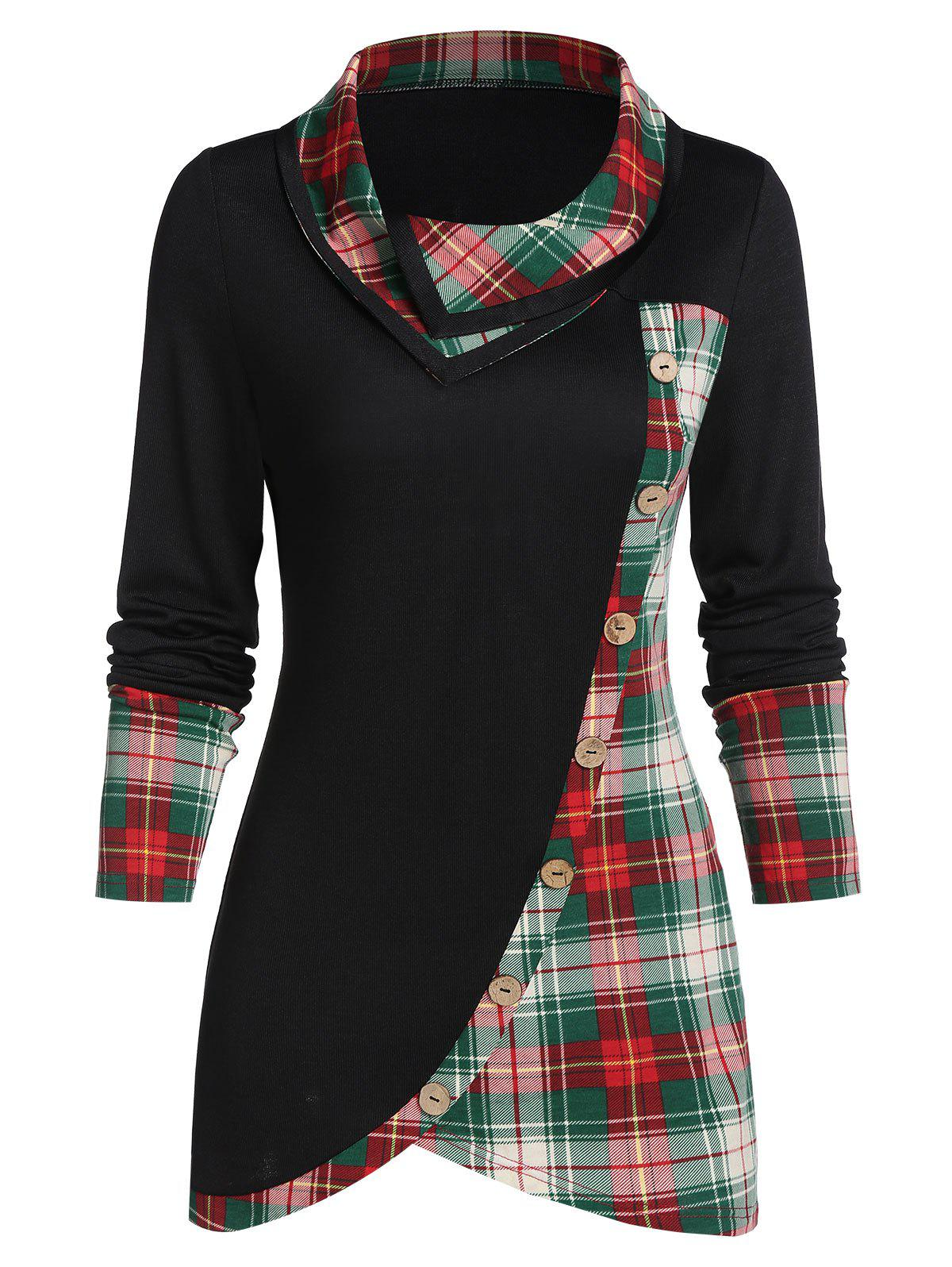 Plaid Print Mock Button Long Sleeve Overlap T-shirt - BLACK L