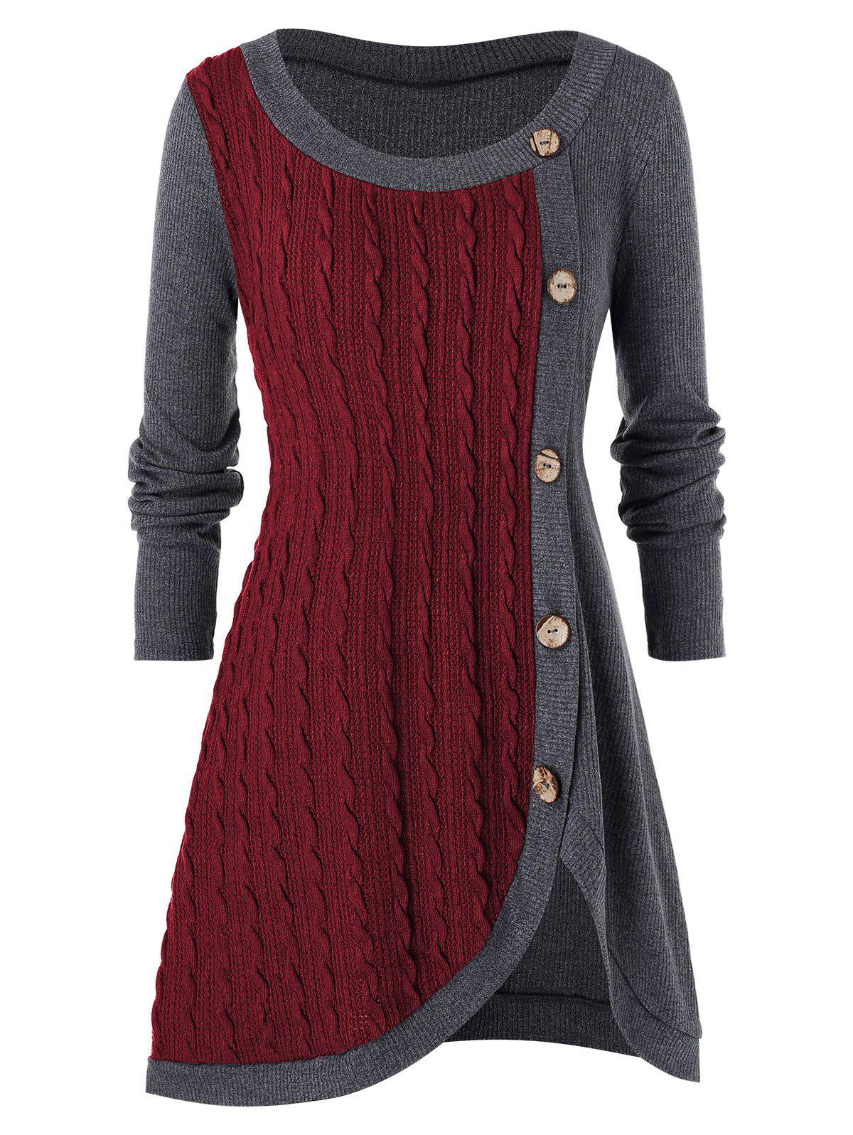 Plus Size Buttoned Front Slit Cable Knit Sweater - FIREBRICK 4X