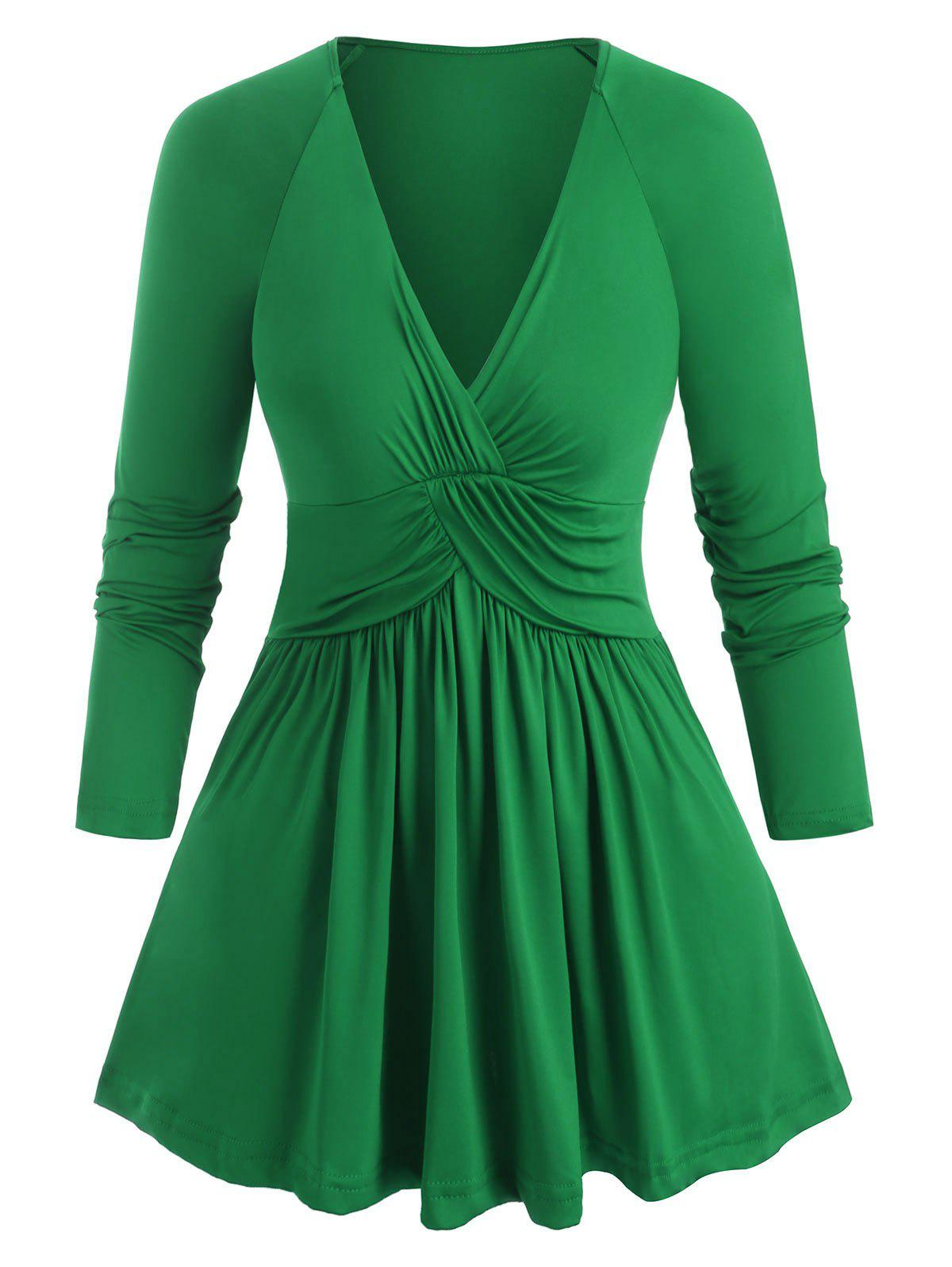 Plus Size Plunging Neckline Ruched T Shirt - PINE GREEN 3X
