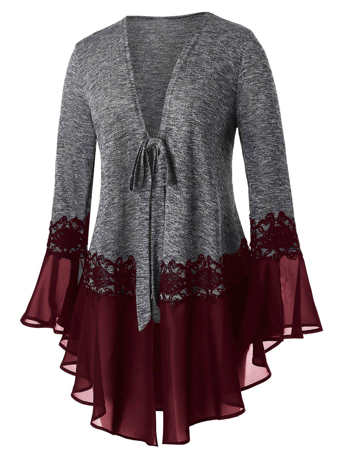 Plus Size Space Dye Tie Flare Sleeve Cardigan - RED WINE L