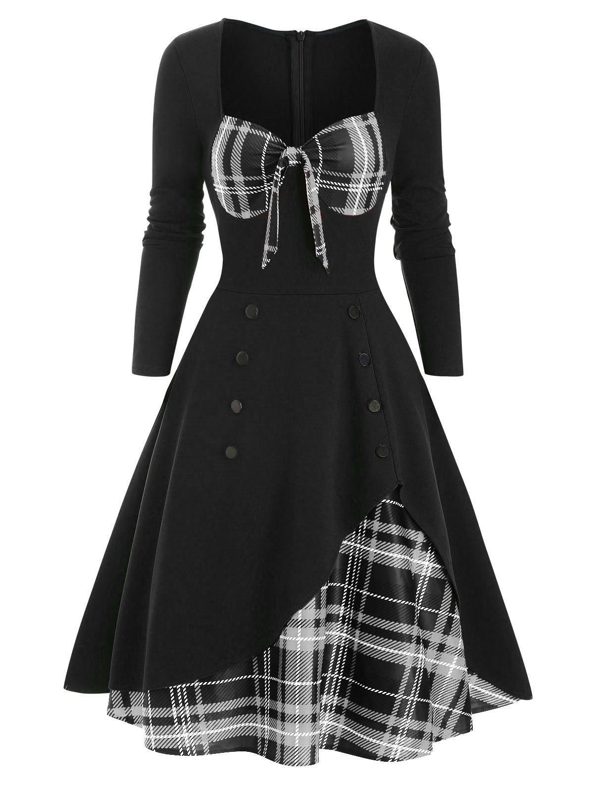 Plaid Button Embellished Overlap Bowknot Dress - GRAY M