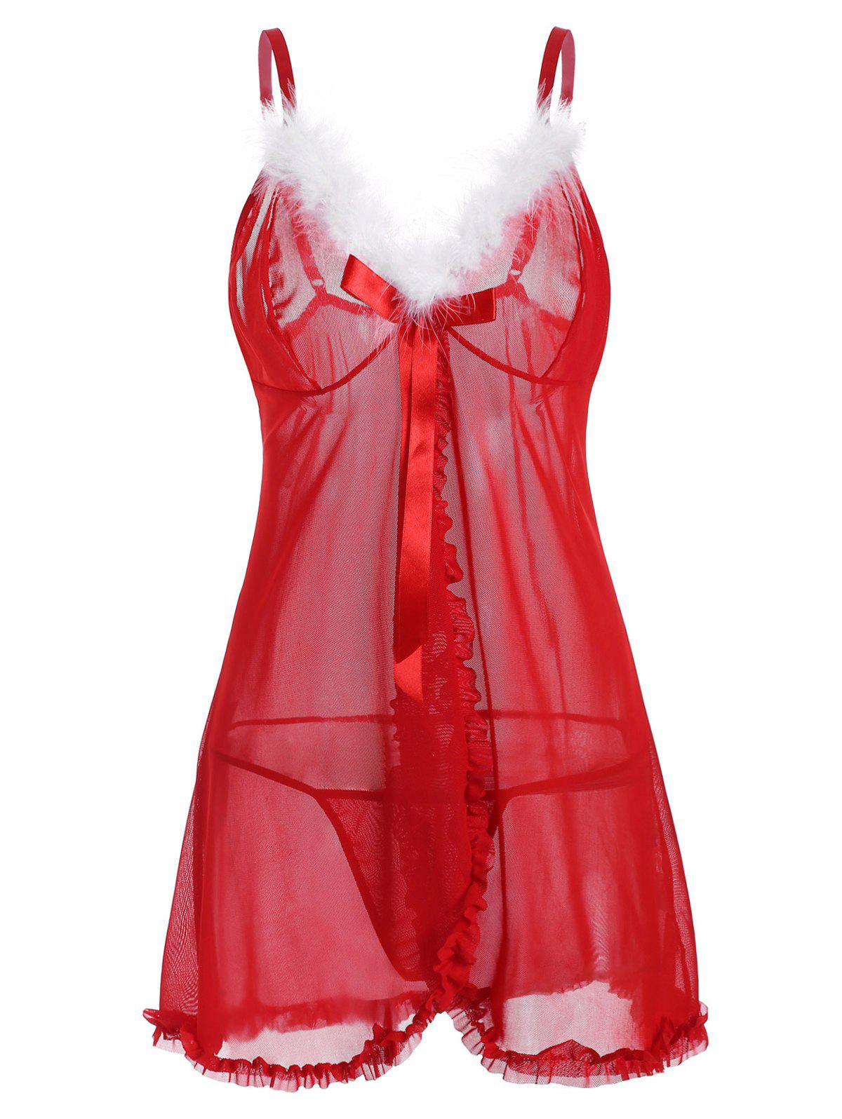 Christmas Bowknot Sheer Mesh Fuzzy T Back Plus Size Babydoll - RED 1X