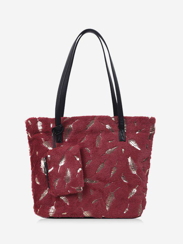 Plush Feather Shoulder Tote Bag - RED