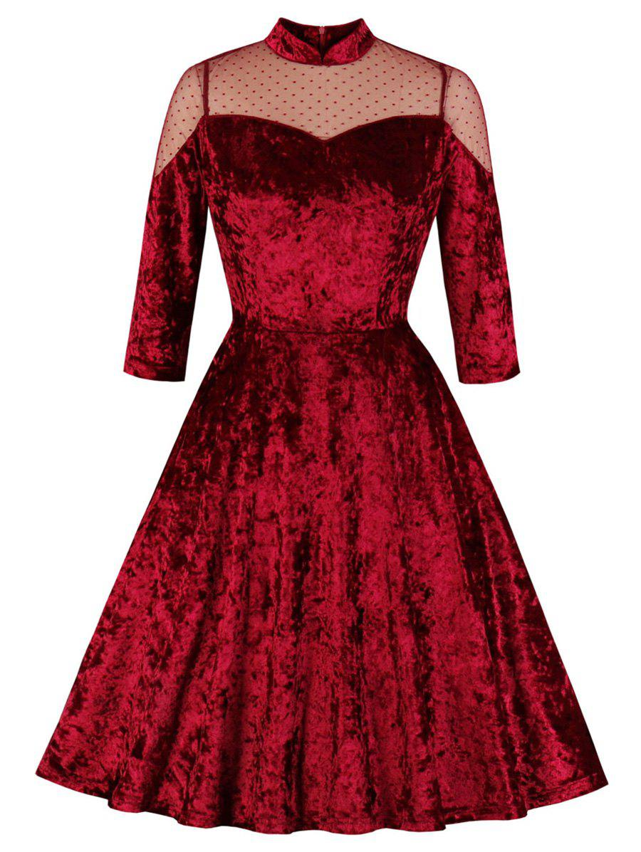 Swiss Dot Mesh Yoke Velvet Dress - RED WINE 2XL