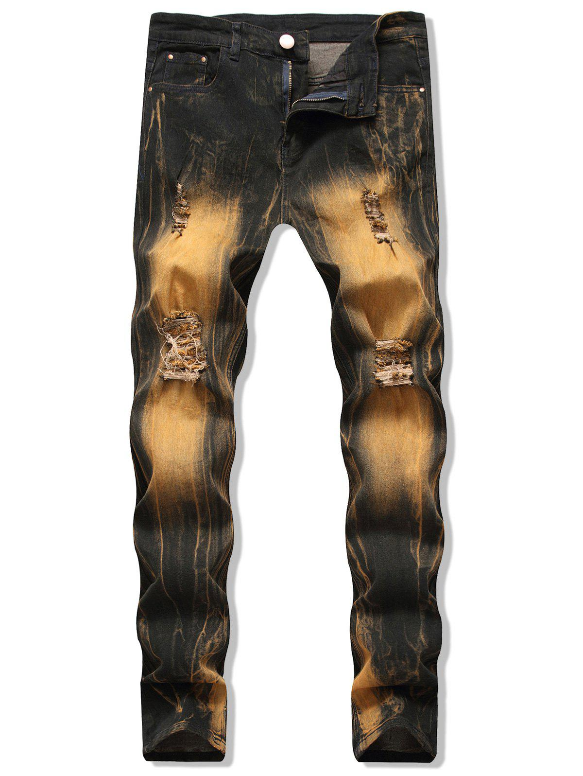 Casual Print Ripped Design Jeans - BRONZE 34