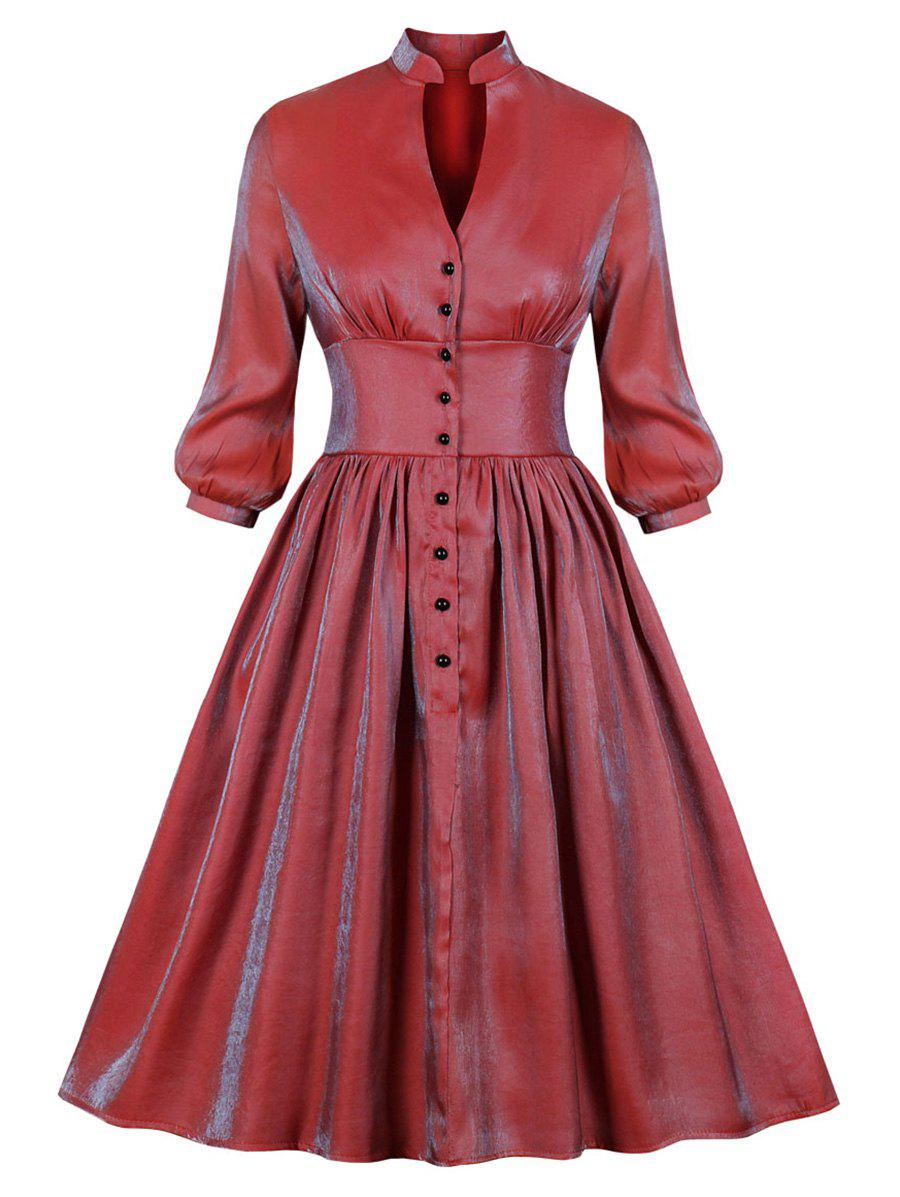 Shiny Silky Long Sleeve Shirt Dress - RED S