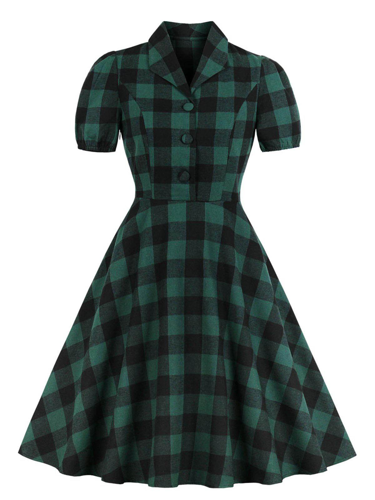 Flannel Plaid Button Placket 1950s Dress - DEEP GREEN XL