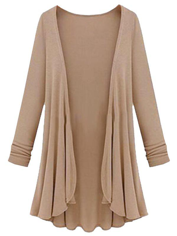 Plus Size Collarless Open Front Cardigan - CAMEL BROWN 4X