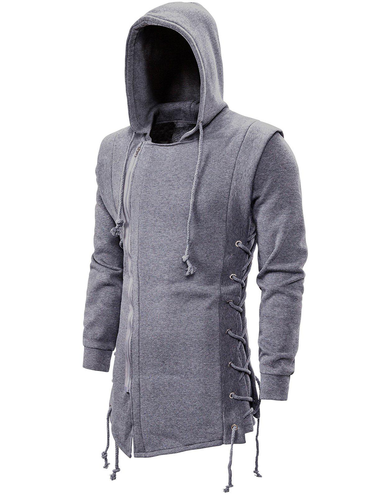 Side Lace Up Fleece Gothic Hoodie - LIGHT GRAY 2XL