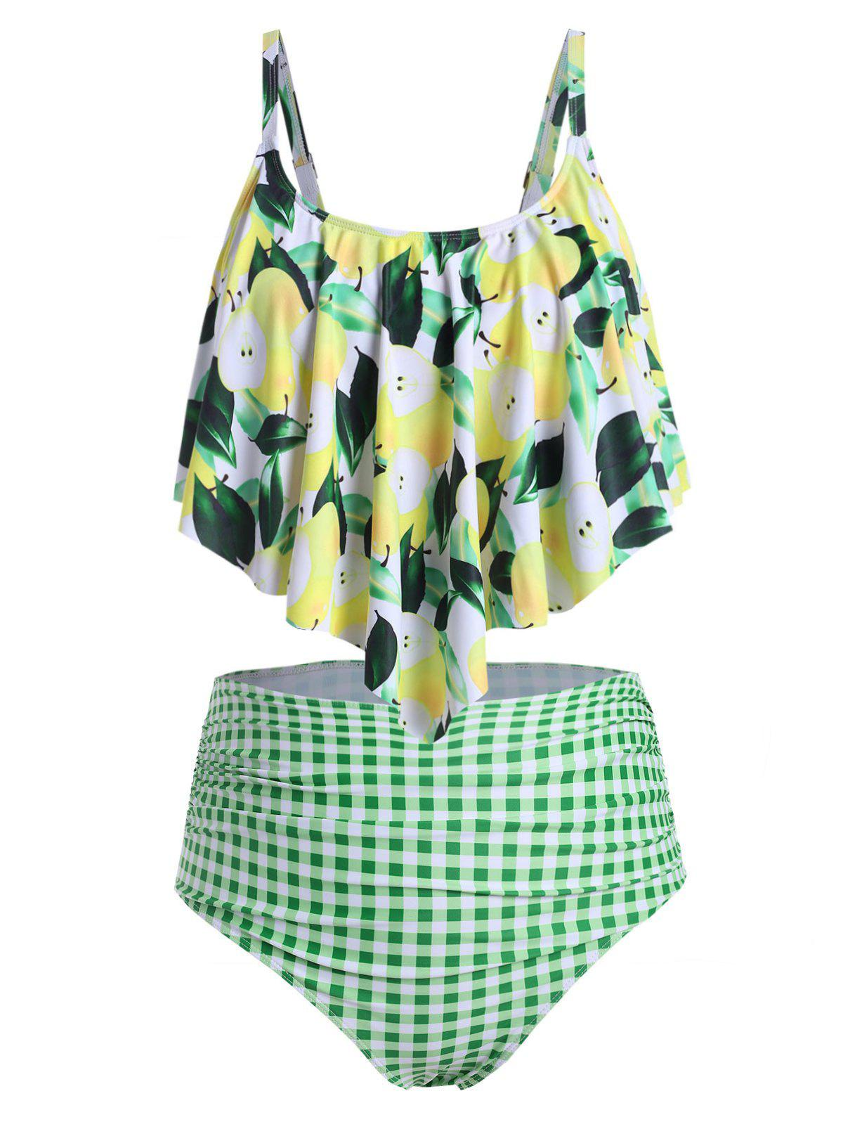 Plus Size Lemon Print Overlay Plaid Tankini Swimsuit - GREEN L